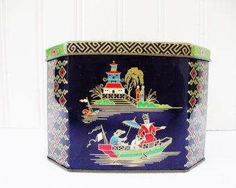 vintage tea tin box hinged lid chinese style