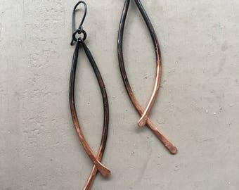 Copper Dangle Earrings Ombre Earrings Hammered Copper Jewelry Drop Earrings Rustic Jewelry Daniellerosebean Long Earrings Copper Earrings