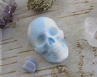 Clarity- Blue Lace crystal skull bath bomb