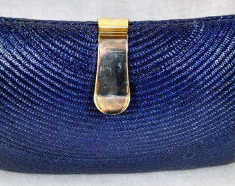 Navy Blue Wicker Straw Box Purse - Converts to a Shoulder Bag or Not