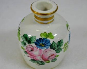 Vintage French White Opaline Gold Gilt Enamel Pink Yellow Blue Purple Flowers