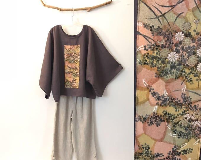 oversized grape purple linen top with vintage kimono panel ready to wear / kimono linen top / Japanese kimono / plus size linen top / shirt