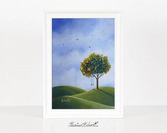 My Favorite Place - Tree Swing - Dreamy - Fantasy Landscape - Miniature Print - Signed by Artist - Erback Art - Big Sky - 5x7 - Birds
