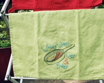 Wakey Wakey Eggs and Bakey Embroidered Towel