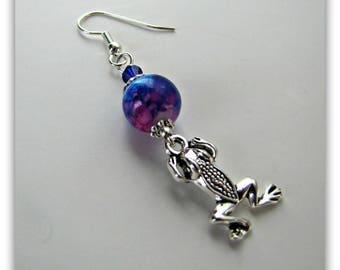 Blue Dangle Earrings, Frog Earring, Beaded Earrings, Blue -Pink Glass Earrings,  Tibetan Silver, Surgical Steel Fishhook Earwires Item 1282