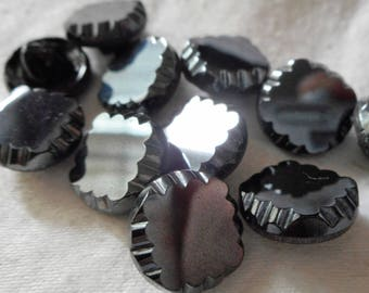 Set of 11 VINTAGE Small Square Scallop Edge Luster Black Glass BUTTONS