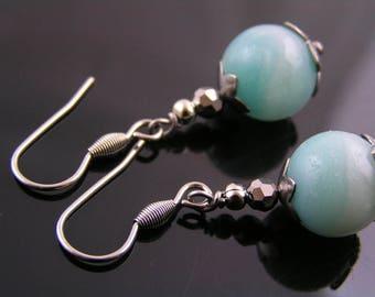 Amazonite Earrings, Amazonite Jewelry, Gemstone Earrings, Short Earrings, Wire Wrapped Earrings, Gemstone Jewelry, Pierced Earrings, E1919