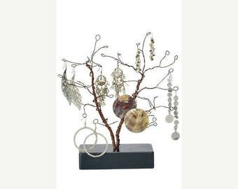 New Years Sale 10.5 Inch Tall Forged Wire Jewelry Display Whimsical Design Tree