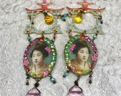 Lilygrace Geisha Coral, Orange, Pink and Duckegg Earrings with Brass Filigrees,  Glass Beads and  Vintage Rhinestones