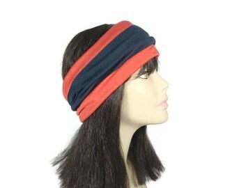 CUSTOM SIZE Red and Blue Striped Headband Wide Striped Headband Blue and Red Striped Headband Athletic Headband Striped Unisex Head Wrap