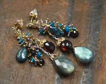 Summer SALE Labradorite, Moss Kyanite, Garnet, Amethyst, Apatite, Green Tourmaline, CZ pave vermeil posts ... AEGLE Earrings