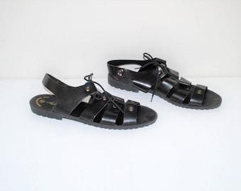 lace up gladiator sandals 90s vintage genuine black leather strappy corset sandals size 10