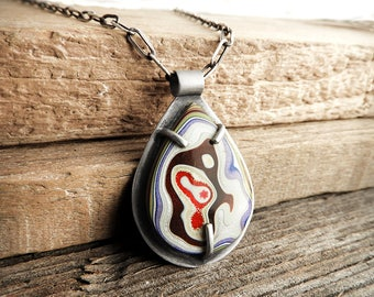 Sterling silver Fordite jewelry, Detroit Agate, fordite necklace, girlfriend gift for her, wife gift, statement necklace, Christmas gift