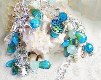 ON SALE The Mermaid's Hideaway Bead, Shell and Charm Bracelet