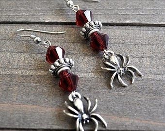 ON SALE Silver Spider Earrings Gothic Spider Jewelry Spider Charms With Crystals Cosplay Spiderman or Spidergirl Earrings