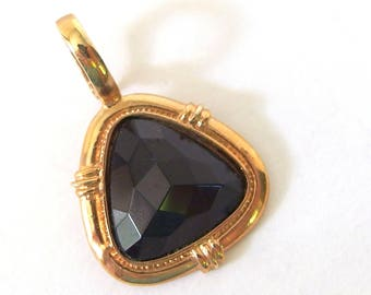 Black Triangle Pendant, Goldtone Removable Faceted Pendant
