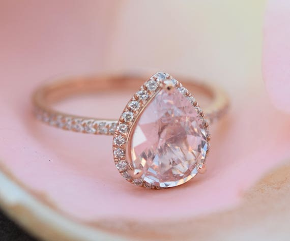 Engagement ring peach champagne sapphire engagement ring 14k engagement ring peach champagne sapphire engagement ring 14k rose gold 21ct pear cut peach sapphire ring engagement ring by eidelprecious junglespirit Images