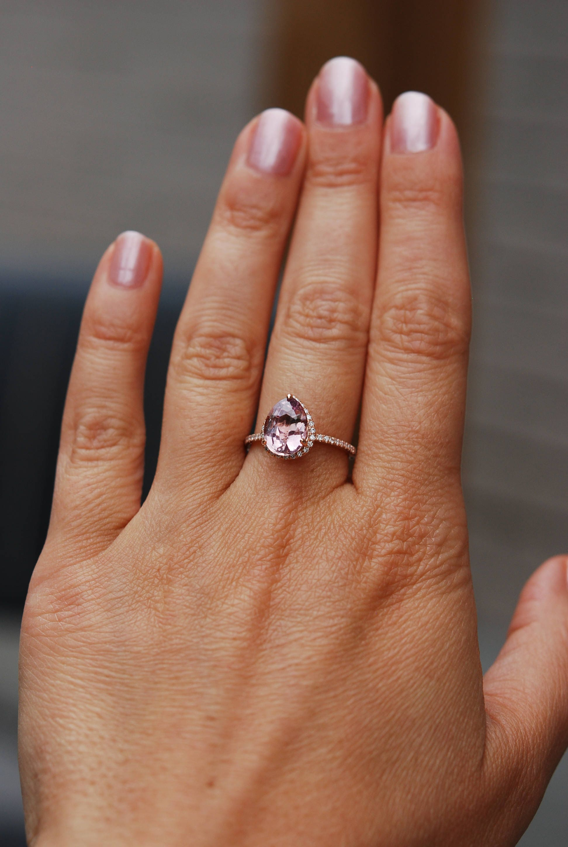 Peach sapphire engagement ring Rose gold engagement ring 2 44ct