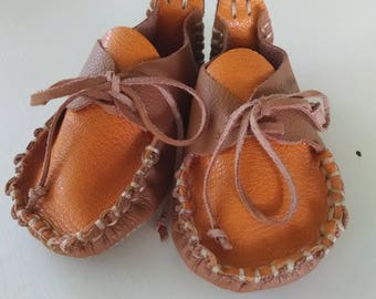 Handmade yellow mustard/Tan Granola Moccasins  >>Genuine Leather<<