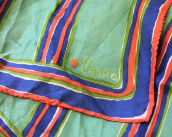 Mod Vera scarf in red, green and blue, 1970s square with ladybug logo.