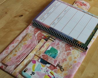 "8.5"" x 11"" Planner Cover Spiral Notebook Organizer System Custom Made to Order in Your Choice of Cotton Fabric"