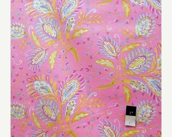 ON SALE Dena Designs LIDF008 Sunshine Heather Pink Linen Fabric By The Yard