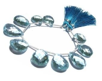 50% Off Sale 10 Pcs 5 Matched Pair of Aqua Blue Quartz Faceted Pear Briolettes 16x12 - 18x13mm approx