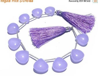 50% Off Sale 10 Pcs 5 Matched Pair -  AAA Lavender or Lilac Chalcedony Smooth Polished Heart Briolettes Size 15x15mm Approx