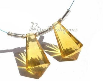 50% Off Sale Matched Pair - AAA Golden Quartz Faceted Fancy Chandelier Briolettes Size 22x12mm approx