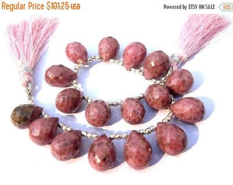 50% Off Sale AAA Rhodonite Micro Faceted Drop Briolettes Size 14x10mm Set of 16 Pcs as 8 Matched Pair