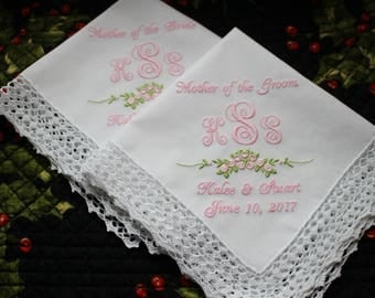 Two (2)  Embroidered Wedding Handkerchiefs for Mother of the Bride and Mother of the Groom, Custom Wedding Handkerchiefs