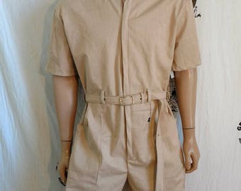 Mens Romper shorts  44 XL by Anna Herman USA jumpsuit nat color org cotton hipster