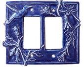 Hummingbird Double Rocker Light Switch Plate in Sapphire Blue Glaze