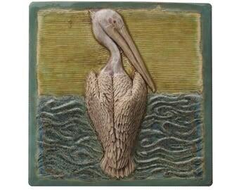 """Pelican Ceramic Art Tile in Blue, Agate & Green (8 1/2"""" 8 1/2"""")"""