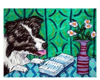 20 % off storewide Border Collie Reading a Book Dog Art Print