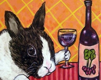 20 % off storewide Bunny at the Wine Bar Rabbit Art Tile Coaster