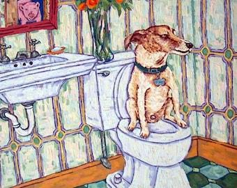 20% off storewide jack russell terrier dog Art PRINT poster gift JSCHMETZ modern bathroom  1x14