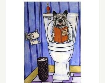 20% off Cairn Terrier in the Bathroom Dog Art Print
