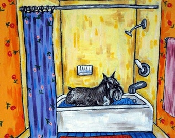 20% off schnauzer, schnauzer art,  print, schnauzer print, modern dog art, gift, bathroom art, bathroom, bathroom decor. bather in art