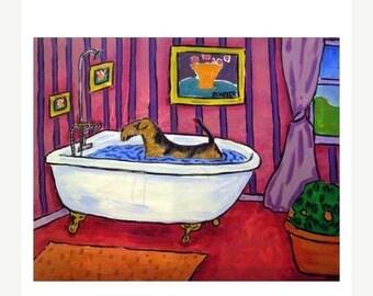 Airedale Terrier Taking a Bath Dog Art Print  JSCHMETZ modern abstract folk pop art AMERICAN ART gift