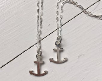 Tiny silver anchor pendant handmade on sterling chain