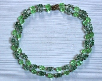 Vintage green glass double strand necklace