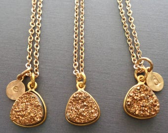 Gold Druzy Necklace - Gold Druzy Gold Initial - Initial Druzy Necklace -Gold Wedding Bridesmaid Gift Sparkly Triangle Drusy Gold-G19