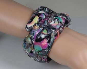 Polymer clay adjustable, cuff bracelet, rainbow colors