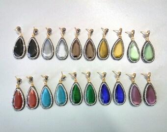 Teardrop Dangle Earrings Gemstone Gold Plated Drop Earrings