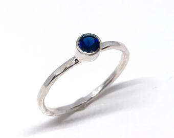 Sapphire Ring - Sapphire Engagement Ring - September Birthstone Ring - Silver Stacking Rings - Sapphire Solitaire - Minimalist Ring