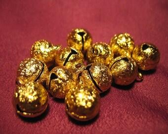 Beautiful Textured Gold Japanese Bells Set of 12 (One Dozen Bells)