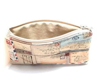 Summer Clearance Pocket Zipper Case, Change Purse, Card Case, Coin Purse, Tan Postcards 8781
