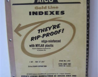 Vintage Aico Gold Line Indexes, Rip-Proof, A to Z Black Leather Tabs, Unopened