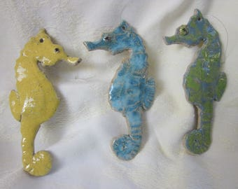 SEAHORSE Stoneware Pottery Hanging Ornament